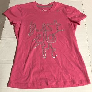 Nike Womens Medium Pink Dri Fit Cotton Tee Shirt